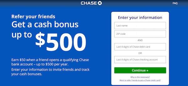 Chase checking bonus offer referral program