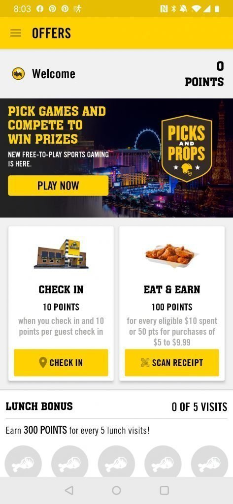 buffalo wild wings free food apps