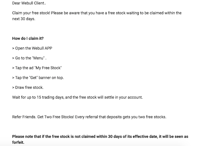 webull free stock email